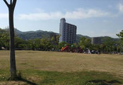 電車が見える!大きな広場のある公園