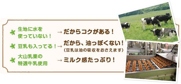 生地に水を使っていない!→だからコクがある! 豆乳も入ってる!→だから、油っぽくない!(豆乳は油の吸収をおさえます) 大山乳業の特選牛乳使用→ミルク感たっぷり!