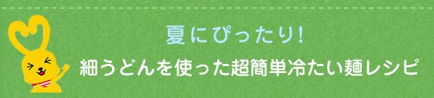 【夏にぴったり!】細うどんを使った超簡単冷たい麺レシピ
