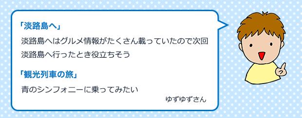 淡路島へはグルメ情報が「淡路島へ」たくさん載っていたので次回淡路島へ行ったとき役立ちそう 「観光列車の旅」青のシンフォニーに乗ってみたい ゆずゆずさん